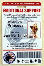 EMOTIONAL SUPPORT SERVICE DOG ID CARD FOR SERVICE ANIMAL ADA RATED VERTICAL 0ES