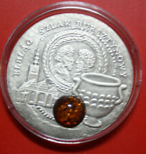 "Niue Islands: 1 Dollar 2009 Silber, #F3298, "" Elbing Amber Route"" COA real Amber"