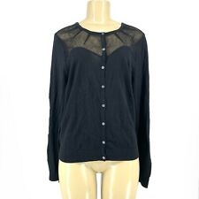 New Gap Women Button Down Cardigan Sweater Black Sz L N13