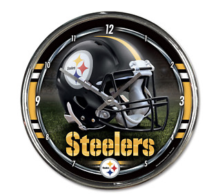 """Pittsburgh Steelers Round Chrome Wall Clock ,12"""" Chrome plated, Great as Gifts"""