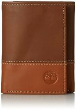 TIMBERLAND HUNTER BROWN TAN GENUINE LEATHER CREDIT CARD TRIFOLD MEN WALLET