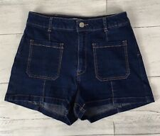 Pull and Bear Denim Shorts High Waisted EUR 40 UK 10/12 Stretchy Front Pockets