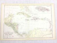 1888 Antik Map Of Die Karibik West Indies Jamaica 19th Jahrhundert Blackie &