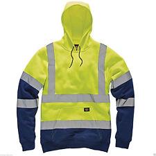 Mens Dickies Hoodie Safe and Warm Work Hooded Sweatshirt Yellow L