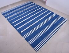 6'x9' Hand Woven Fine Blue& White Reversible Cotton Rug Dhurrie Area Rug Kilim