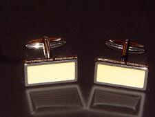 PORSCHE DESIGN P'3400 STERLING SILVER CUFFLINKS W/WHITE LACQUER. NIBWL&S.
