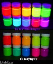 10 Couleurs X 30ml Pots Fluorescent UV Blacklight Peintures