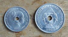 Laos 10 & 20 Cent Coins~1952 Sisavong Vong~Aluminium~KM#4 & 5~aUNC~#1113