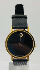 Mens Classic Movado Museum Black Leather Strap and Dial Vintage 30mm Watch