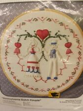 "Vtg NEW Dutch Couple Wedding Anniversary Sampler Candlewicking Kit 8"" w/ Hoop"