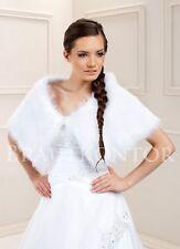 (BKF121) Brautstola Umhang Cape Hochzeit Fuchs Fellimitat warm WEISS IVORY NEU