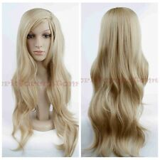 Women's Korean Wigs Blonde Long Wavy Synthetic Heat Resistant Cosplay Hair Wig