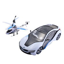1:14 2.4G Speed Twins Bmw i8 Car & Helicopter Radio Remote Control Rc Toy New