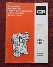 GENUINE HATZ E88 E89 E 88 89 DIESEL ENGINE PARTS CATALOG MANUAL CLEAN
