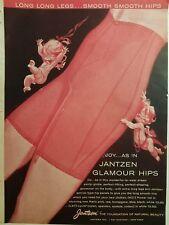 1961 JANTZEN women's red girdle long legs smooth glamour hips cherubs art ad