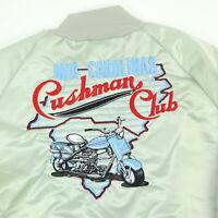 Vtg Cushman Motor Scooter Club Bomber Jacket Mens XL USA Made Satin Nylon Fred