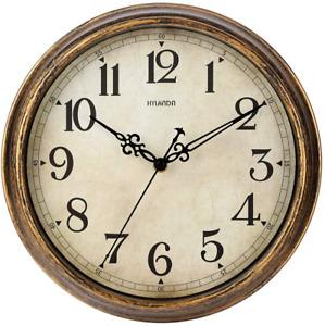HYLANDA Wall Clock - 12 Inch Vintage Wall Clocks Battery Operated - Retro Silent