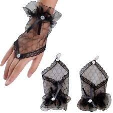 Gants longueur poignet en tulle noir , strass et satin, accessoire mariage