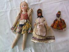 Lot Vtg Dolls 30's 40's Cloth Plastic Paris w/ Bonnet African