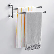 2 Arm Wall Mounted Chrome Towel Rail Swivel Rack Bathroom Kitchen Storage Holder