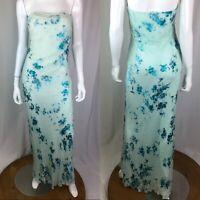 Mon Cheri Evenings Women's 14 Blue Aqua Floral Silk Beaded Maxi Strapless Dress