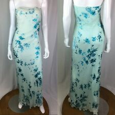 Mon Cheri Evenings Women's 14 Blue Aqua Floral Silk Beaded Maxi Strapless Dress