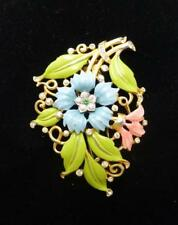 Trifari Alfred Philippe' 1939 Carnation Enamel Floral Spray Pin Dress Fur Clip