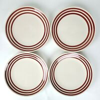 SET OF 4 THRESHOLD BISTRO RUBY RING RED STRIPE DINNER PLATES FREE SHIPPING
