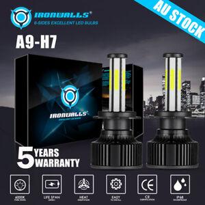 6 side H7 LED Headlight Light Bulb Hi/Lo Beam Replace Halogen 2500W 375000LM HID