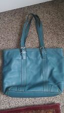 AUTHENTIC Coach Teal Leather Tote Bag Medium/Large BLUE ADJUSTABLE STRAPS LAPTOP