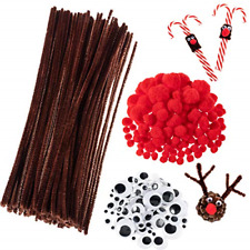 Whaline 350 Pcs Christmas Pipe Cleaners Set Including 100 Pcs Brown Craft