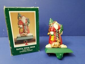 Rare MIDWEST Santa With Deer Toys & Tree Cast Iron XMAS STOCKING HOLDER Hanger E