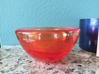 "KOSTA BODA ""Atoll"" Red Orange Swirl Art Glass Votive Candle Hold 4.25"" diam.NIB"
