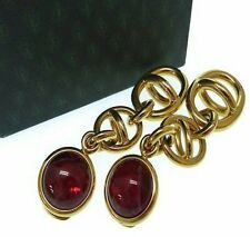 Auth GUCCI Vintage Large Logo and Red Glass Cabochon Dangle Statement Earrings
