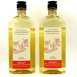 2 Bath & Body Works Aromatherapy ENERGY Guava + Orange Wash & Foam Bath 10 oz