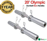 "Olympic 2"" Dumbbell Bars Set Weight Lifting Gym Handles Spring Collars Pair"