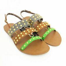 Jessica Simpsons Gold Studded Ankle Strap Buckle Slingback Flat Sandals Size 10