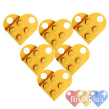 LEGO 12x Coupling Yellow Plate, Modified 3x2 with Hole 3176 Heart Charm
