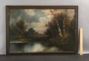 Antique William Chandler Impressionist Birch Tree River Landscape Pastel Drawing