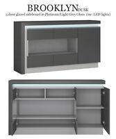 Brooklyn Dusk 3 Door Glazed Sideboard Modern (inc. LED lights) Glass Display