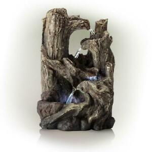 14 in. Tall Indoor 5-Tier Tabletop Rainforest Tree Trunk Waterfall Fountain LED