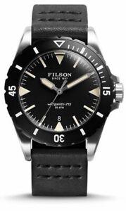 $800 FILSON Dutch Harbor BLACK Leather 43mm 300 Meter Dive Watch F0120001751