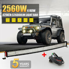 "12D 42INCH 4 ROW CURVED 2560W LED LIGHT BAR COMBO FLOOD SPOT LAMP PK 40"" 50"" 52"""