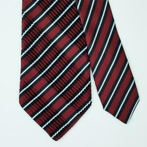 STEFANO RICCI TIE Striped in Dark Red Wide Pleated XL Silk Necktie