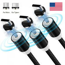 3 Pack 360° Magnetic LED Type C Micro USB Charger Charging Nylon Cable Connector