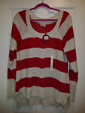 NEW Cable Knit Sweater, Red/White Stripe, Perfect for chilly evenings -Size 1X