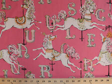 Carousel Ponies Horses Letters Pink Kids Cotton Fabric Print by the Yard D779.34