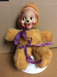 """Vintage Rubber Faced Stuffed Bear, Plush smiling Baby Toy 9"""""""