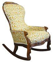 Victorian Rococo Revival Walnut Balloon Back Floral Rocker Rocking Chair