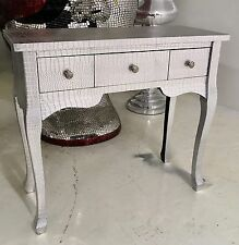 SILVER EMBOSSED MOC CROC CONSOLE/DRESSING TABLE/WRITING DESK 3 Drawer